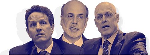 Photo of Benjamin Bernanke, Henry Paulson, and Timothy Geithner