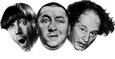 Photo of Curly, Larry, and Moe aka 'The Three Stooges'